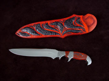 """Sargon"" obverse side view in CPM154CM high molybdenum stainless steel blade, hand-engraved 304 stainless steel bolsters, Fossilized Stromatolite Algae gemstone handle, Frog skin inlaid in hand-carved leather sheath"