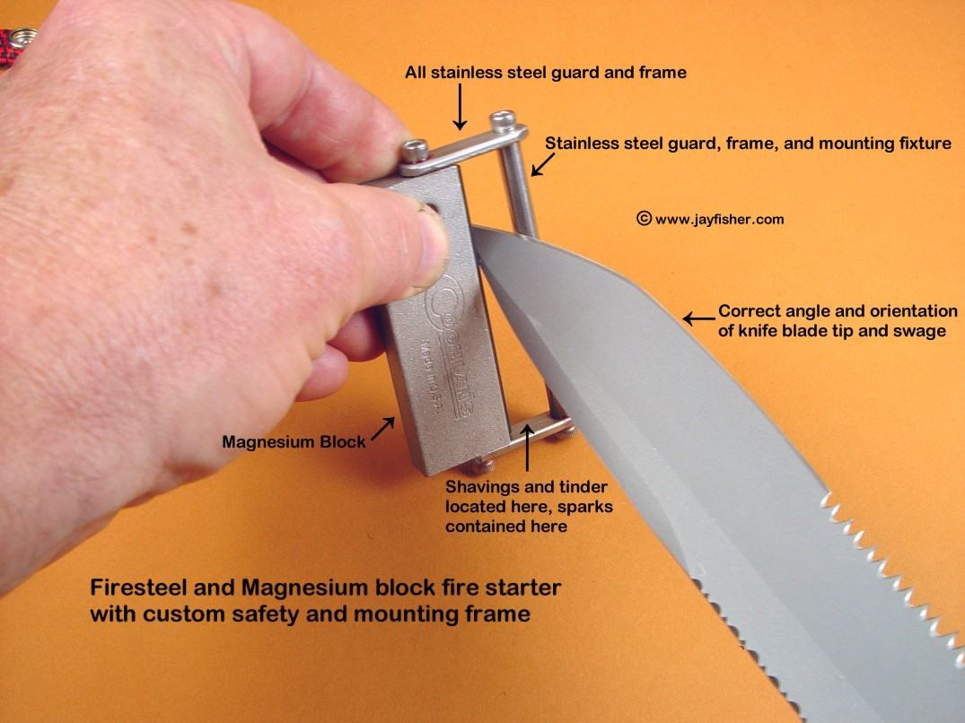 The firesteel/magnesium block fire starter with safety fittings and mounts in stainless steel