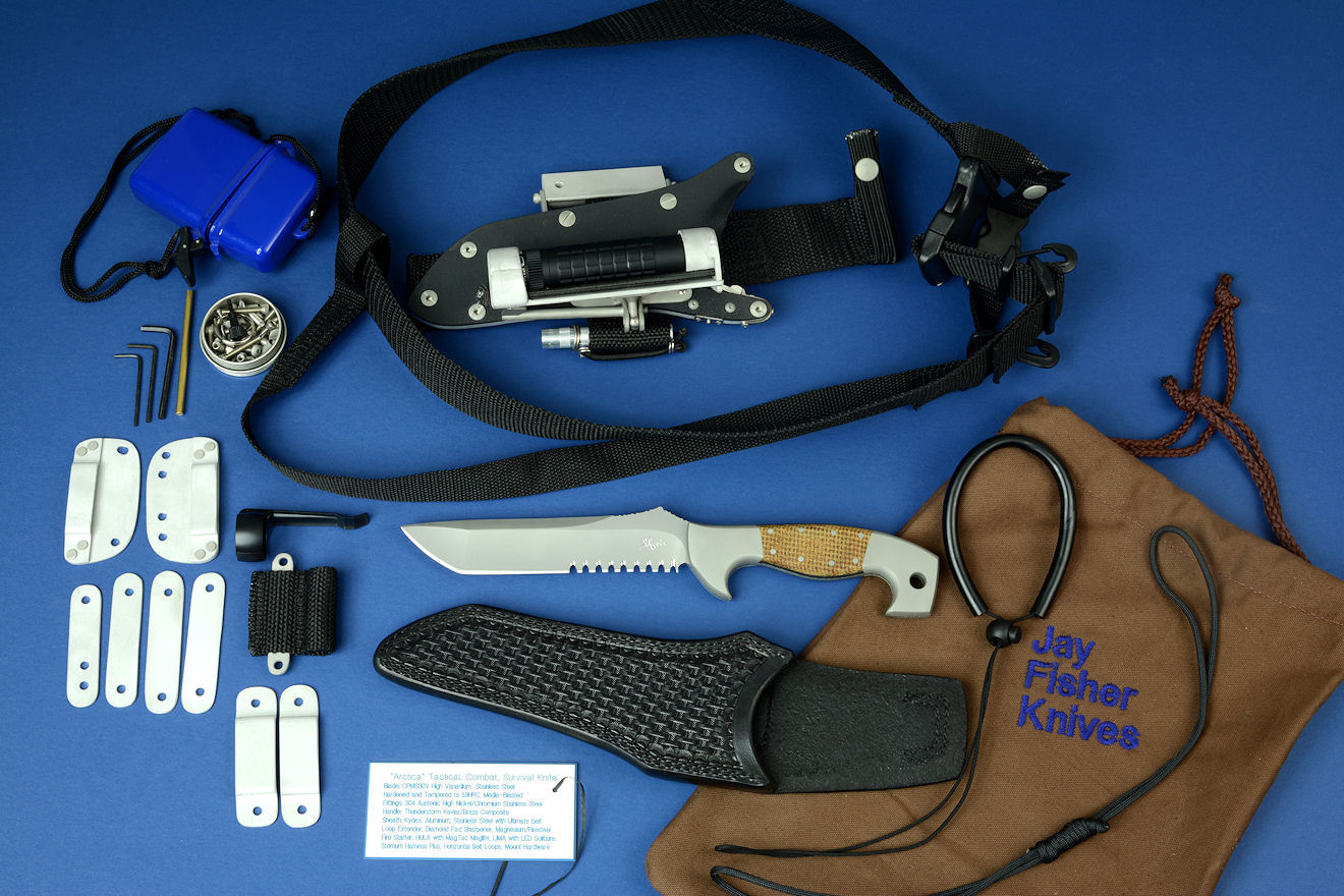 "Accessory package for this ""Arctica"" tactical, rescue, survival, disaster response knife includes sternum harness, ultimate belt loop extender with HULA, LIMA, horizontal belt loop plates, vertical, horizontal belt straps, footman's loops belt loops, locking kydex, aluminum, stainless steel knife sheath, fireblock firestarter, diamond pad sharpener, lanyards (550, SCUBA), heavy leather sheath, all stainless steel accessories and heavy canvas bag"