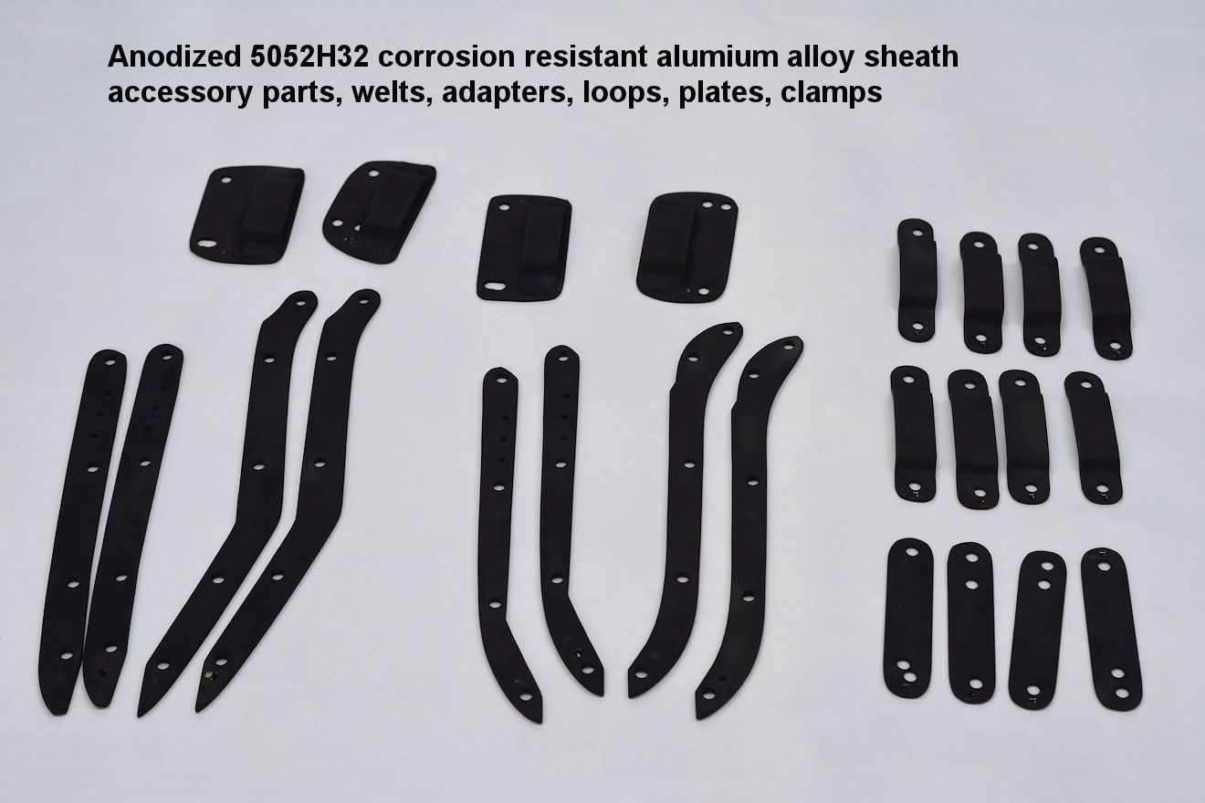 Anodized and black dyed aluminum parts for dive knife sheath and accessories