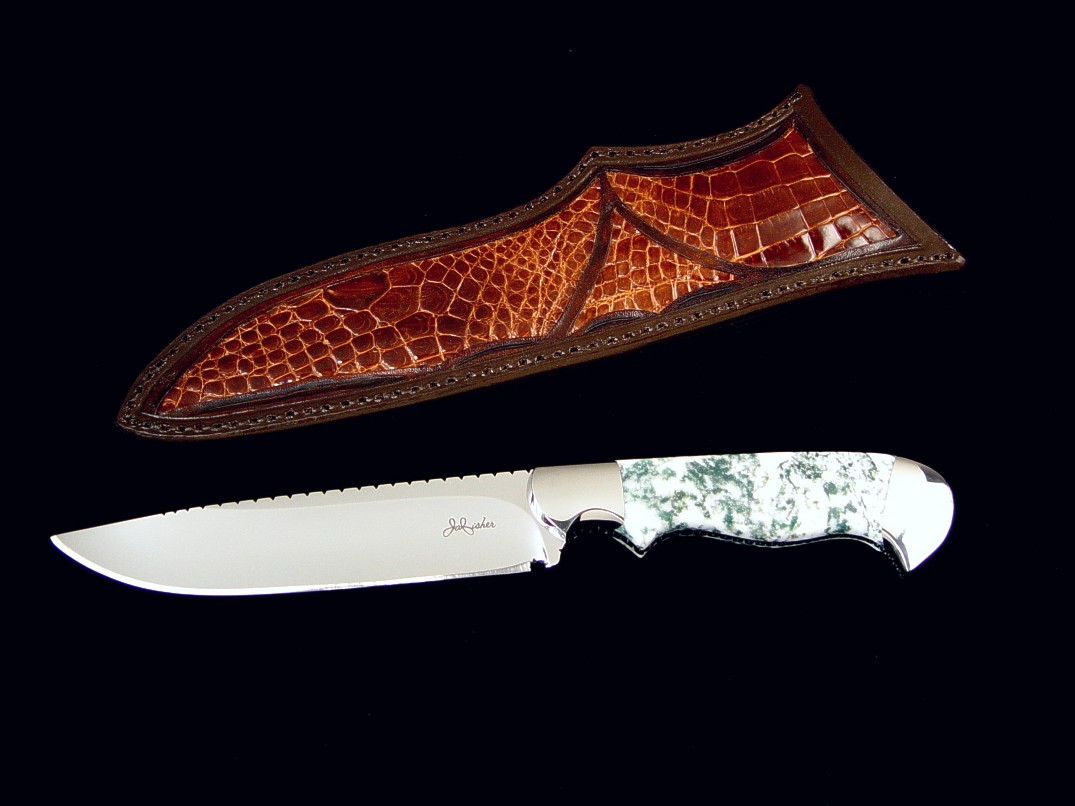 """Aldebaran"" Fine investment grade collectors or using knife, obverse side view: ATS-34 stainless steel blade, 304 stainless steel bolsters, gemstone handle, alligator inlaid leather sheath"