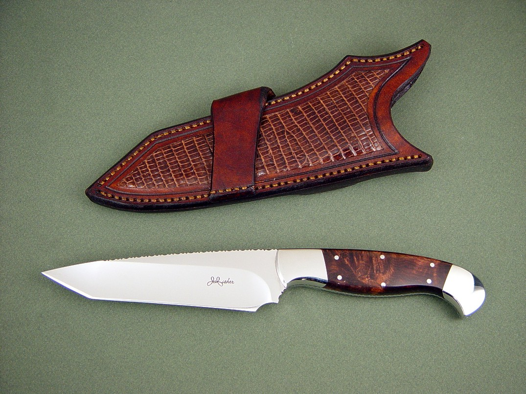 """Alegre"" EL, obverse side view: 440C high chromium stainless steel blade, 304 stainless steel bolsters, Honduras Rosewood Burl hardwood handle, lizard skin inlaid in crossdraw leather sheath"