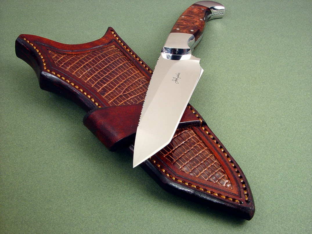 """Alegre EL"" in 440C high chromium stainless steel blade, 304 stainless steel bolsters, Honduras Rosewood Burl handle, ringmark lizard skin inlays in crossdraw leather knife sheath"