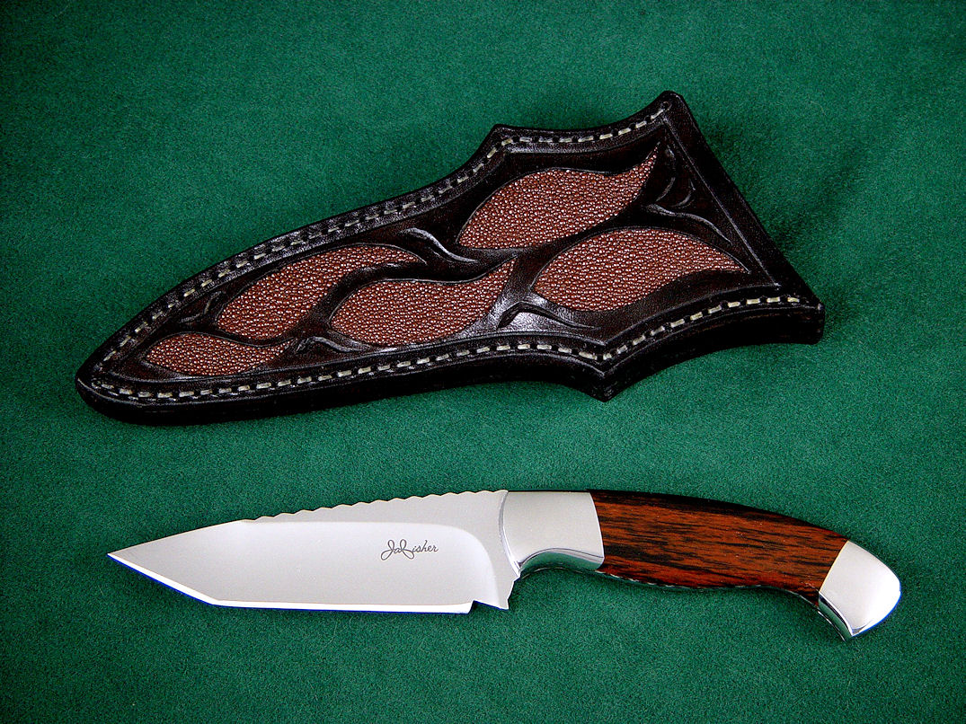 """Alegre"" 440C high chromium stainless steel blade, 304 stainless steel bolsters, Mahogany Obsidian gemstone handle, brown rayskin inlaid in hand-carved leather sheath"