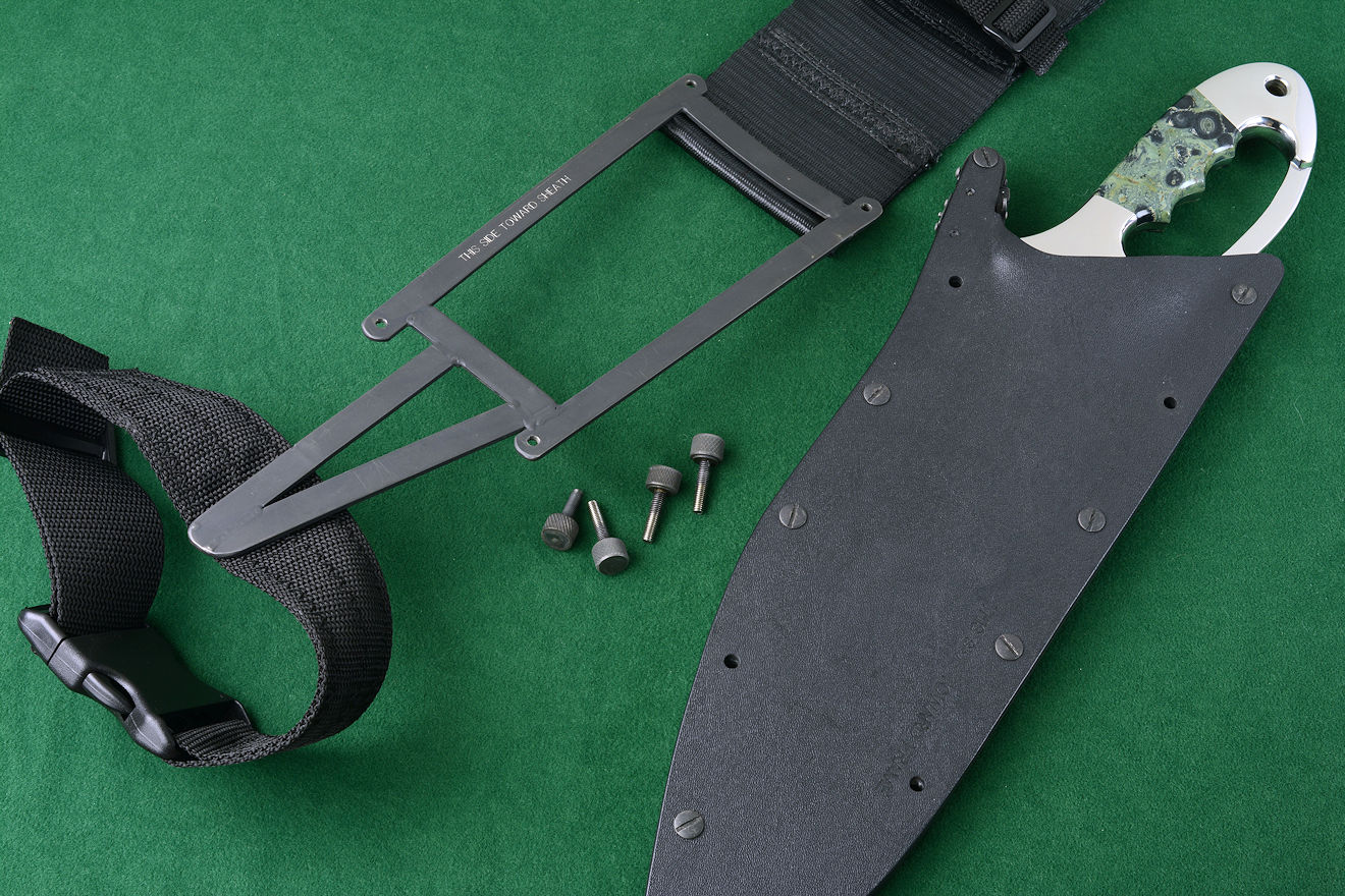 """Ananke"" custom tactical khukri knife and sheath with modular sheath wear accessory parts and components"
