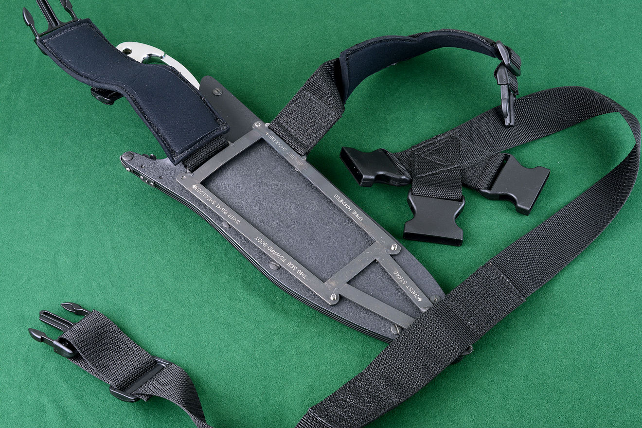 """Ananke"" custom tactical khukri modular sheath frame system, spine harness open and ready to wear"