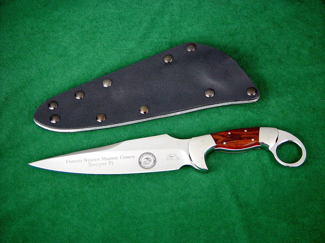 """Bulldog"" obverse side view, USMC custom tactical combat knife in etched 440C stainless steel blade, 304 stainless steel bolsters, Cocobolo hardwood handle, kydex, aluminum, blued steel sheath"