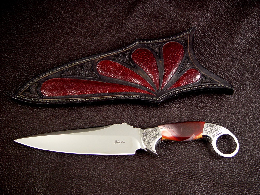 """Bulldog"" tactical art knife in 440C stainless steel blade, hand-engraved 304 stainless steel bolsters, Mookaite Jasper Gemstone handle, burgundy Ostrich leg skin inlaid in hand-carved leather sheath"