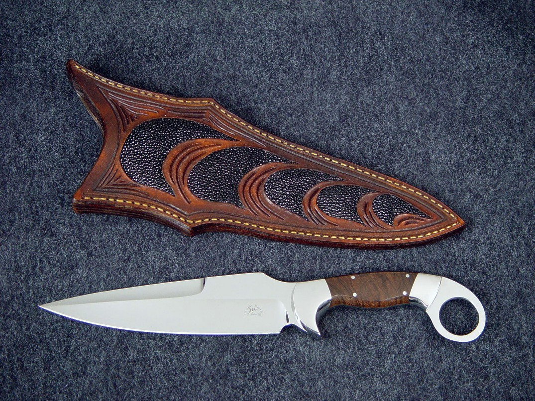 """Bulldog"" tactical knife in ATS-34 high molybdenum stainless steel blade, 304 stainless steel bolsters, Ziricote exotic hardwood handle, stingray skin inlaid in hand-carved leather sheath"