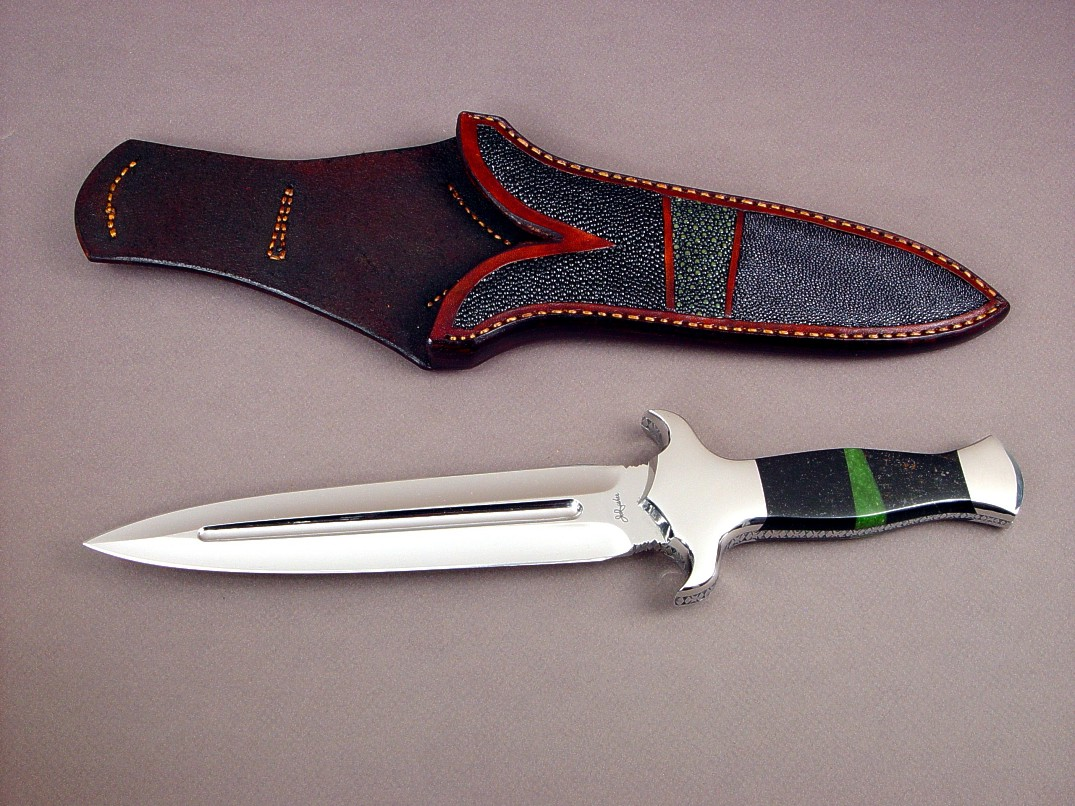 """Charax"" dagger in ATS-34 high molybdenum stainless steel blade, 304 stainless steel bolsters, Australian Black Jade, California Jade gemstone handle, stingray skin inlaid in hand-carved leather sheath"
