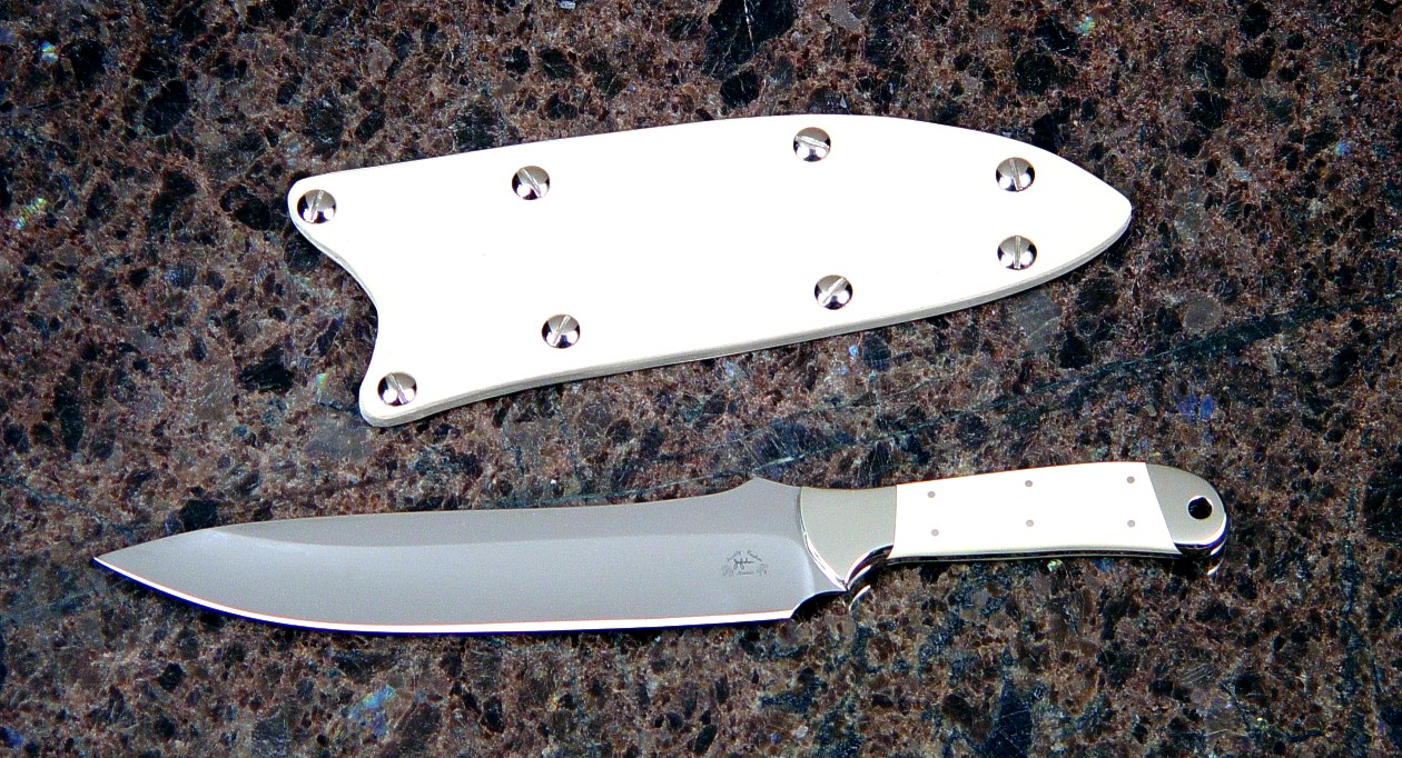 """Cyele"" obverse side view in 440C high chromium stainless steel blade, nickel silver bolsters, ivory micarta phenolic handle, kydex, nickel plated steel slip sheath"