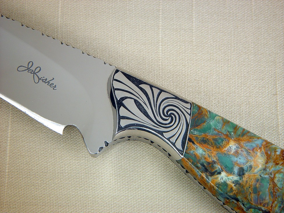 """Eridanus"" obverse side view in 440C high chromium stainless steel blade, hand-engraved 304 stainless steel bolsters, Plasma Agate gemstone handle, Elephant skin inlaid in hand-carved leather sheath"