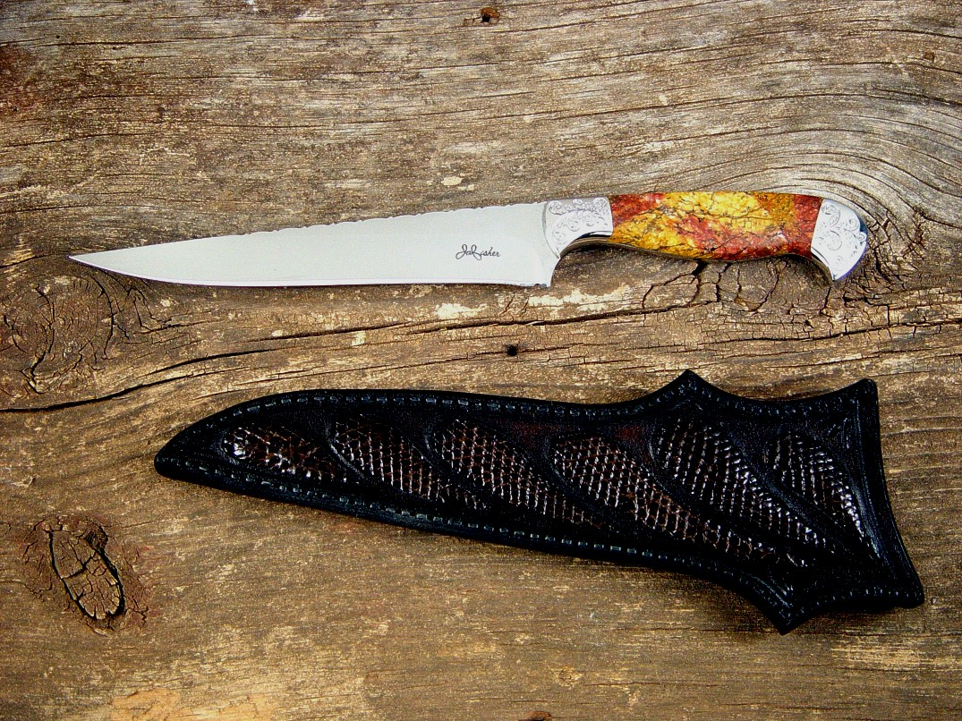 "Sunset Jasper gemstone knife handle on ""Eridanus"" by Jay Fisher"