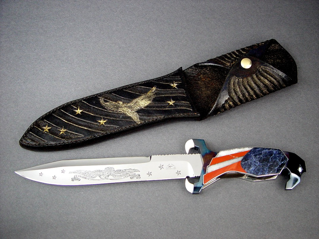 """Freedom's Promise"" obverse side view in hand-engraved 440C high chromium stainless steel blade, blued steel guard and pommel, ivory, opals, sodalite, jasper, quartz, crocidolite handle, hand-carved leather sheath with gold wash"