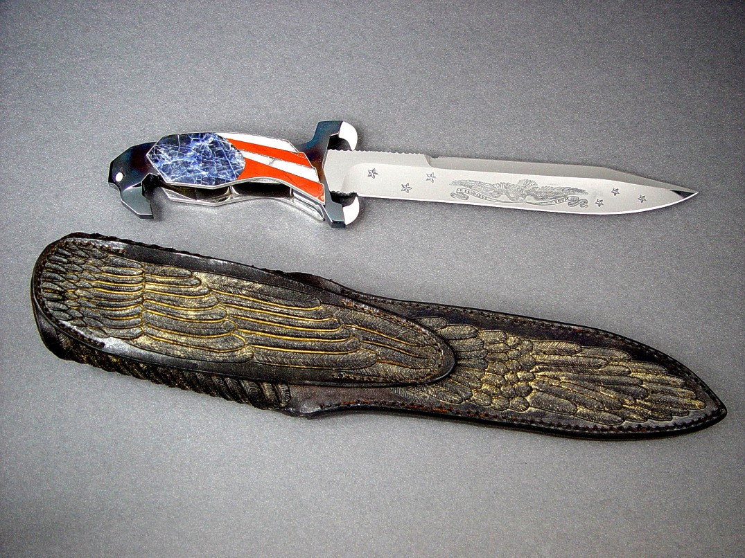 """Freedom's Promise"" reverse side view in hand-engraved 440C high chromium stainless steel blade, blued steel guard and pommel, ivory, opals, sodalite, jasper, quartz, crocidolite handle, hand-carved leather sheath with gold wash"