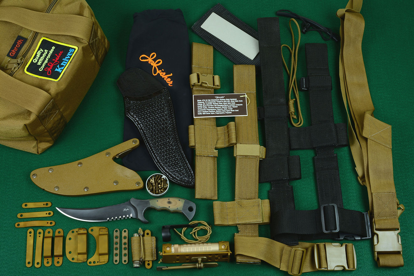 """Ghroth"" professional tactical, combat, rescue, counterterrorism knife kit, complete, with UBLX, EXBLX, HULA, LIMA, diamond sharpener, leather sheath, sternum harness, lanyards, staps, clamps, hardware, and heavy ballistic nylon duffle"