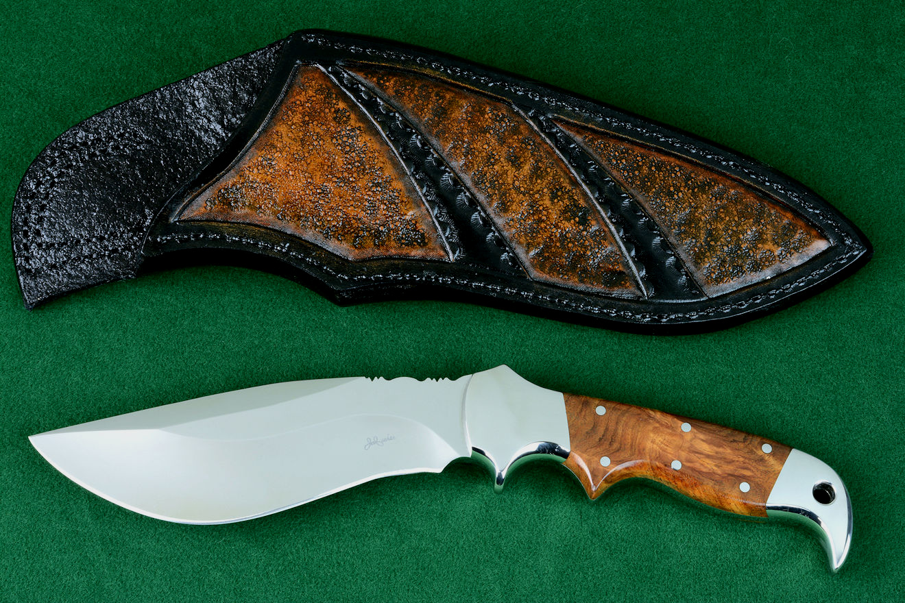 """Hooded Warror"" obverse side view in 440C high chromium stainless steel blade, 304 stainless steel bolsters, Amboyna burl hardwood handle, hand-tooled,  hand-dyed leather sheath"