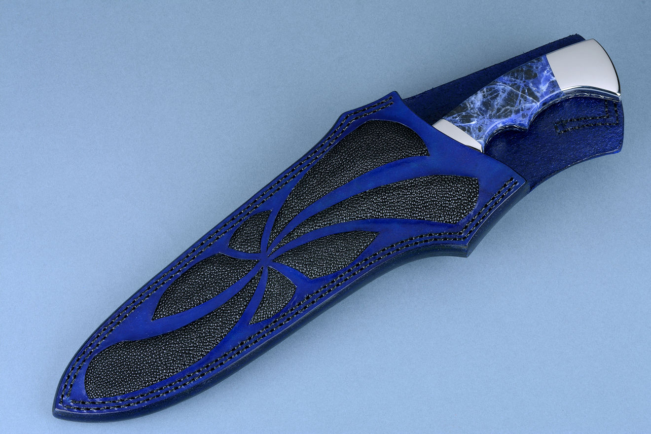 """Kadi"" obverse side view in 440C high chromium stainless steel blade, 304 stainless steel  bolsters, Sodalite gemstone handle, leather sheath inlaid with black rayskin"