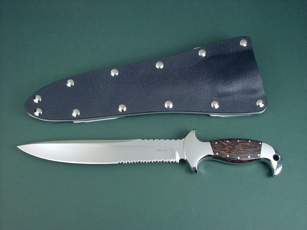 """Macha EL"" obverse side view in 440C high chromium stainless steel blade, 304 stainless steel bolsters, Black Palm Wood hardwod handle, tension fit kydex, aluminum, stainless steel sheath"