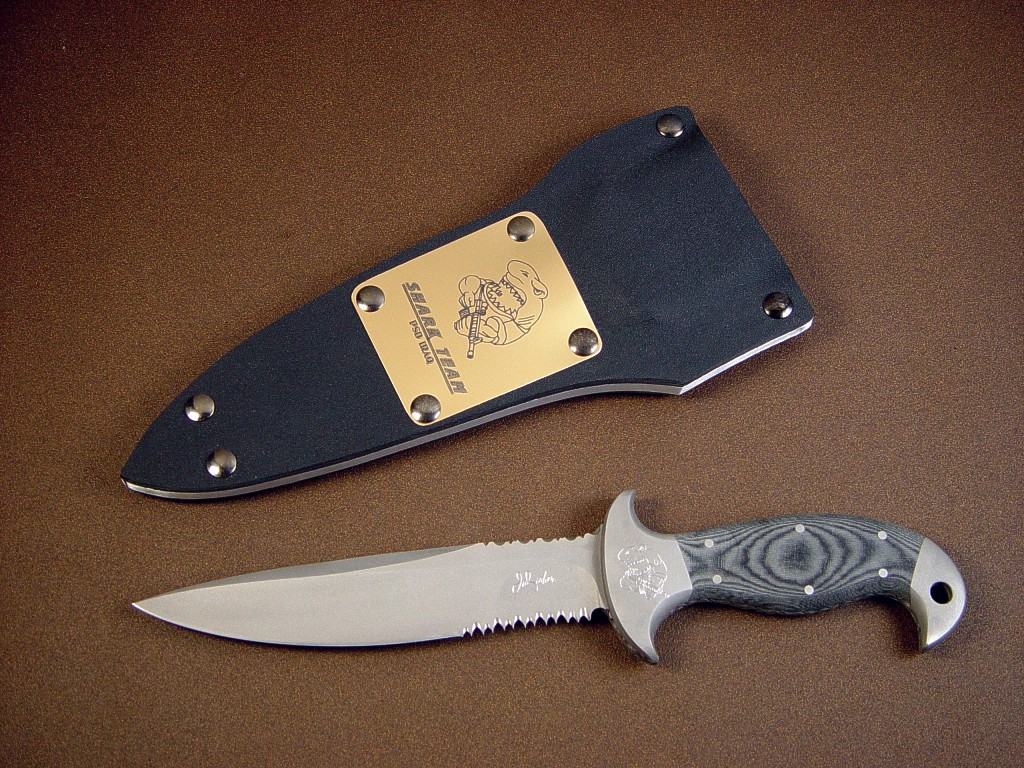 """Macha"" PSD combat, defense, tactical knife: 440c high chromium stainless steel blade, 304 stainless steel bolsters, canvas micarta phenoic handle, kydex, aluminum, blued steel sheath, crocodile, leather sheath"