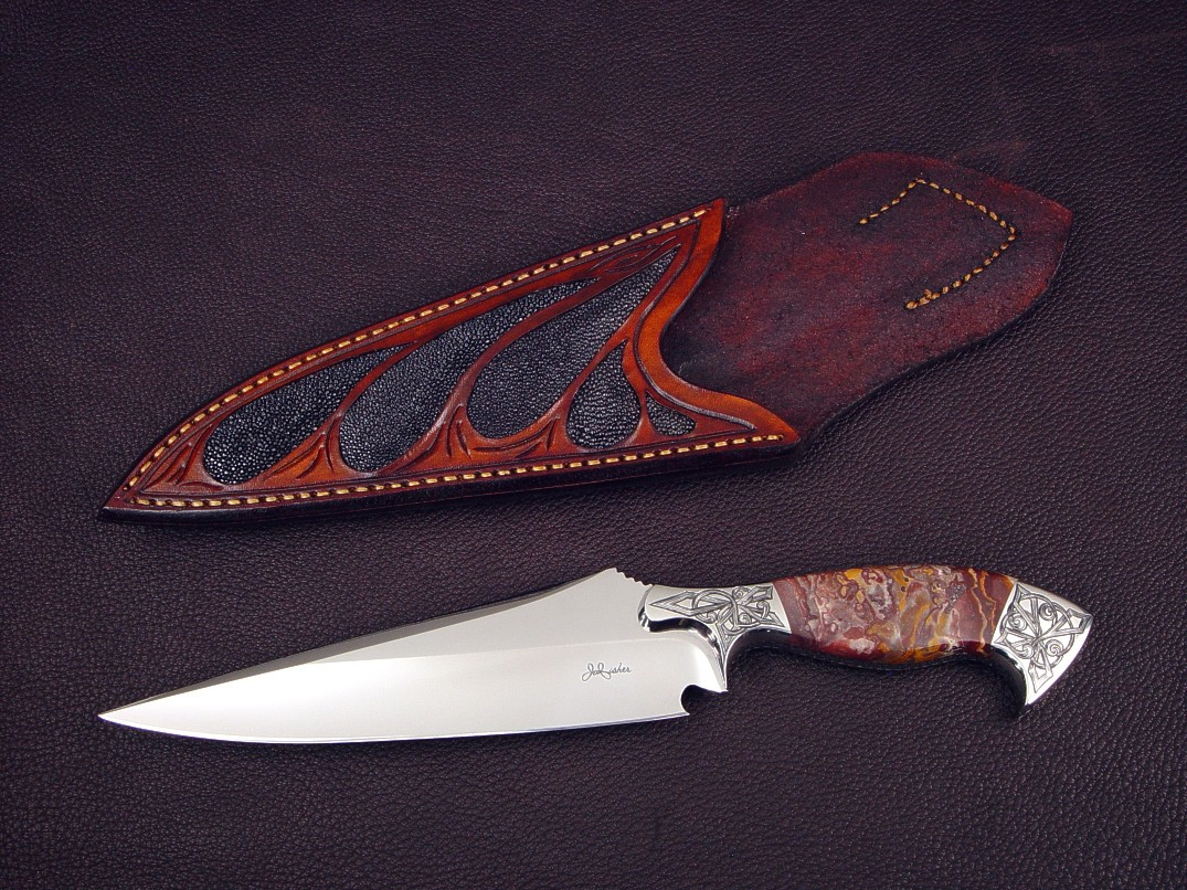 """Malaka"" obverse side view: 440C high chromium stainless steel blade, hand-engraved 304 stainless steel bolsters, Cabernet Jasper gemstone handle, black stingray skin inlaid in hand-carved leather sheath"