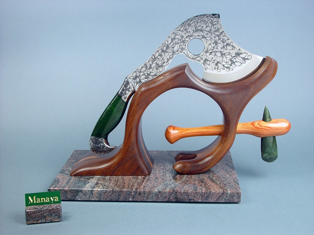 """Manaya"" art hatchet on sculptural display stand, with petaloid celt, in jade, exotic hardwood, stainless steel, hand-engraved"