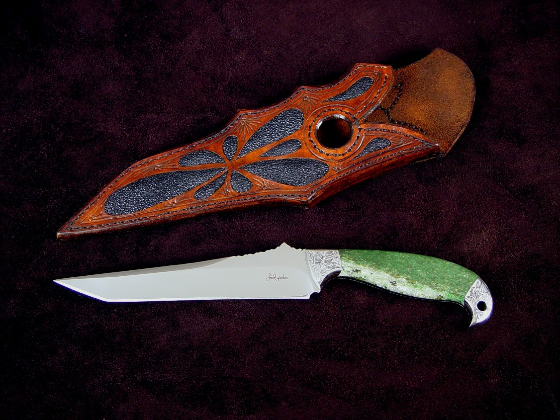 """Mercator"" obverse side view: 440C high chromium stainless steel blade, hand-engraved 304 stainless steel bolsters, Nephrite Jade gemstone handle, black stingray skin inlaid in leather sheath"