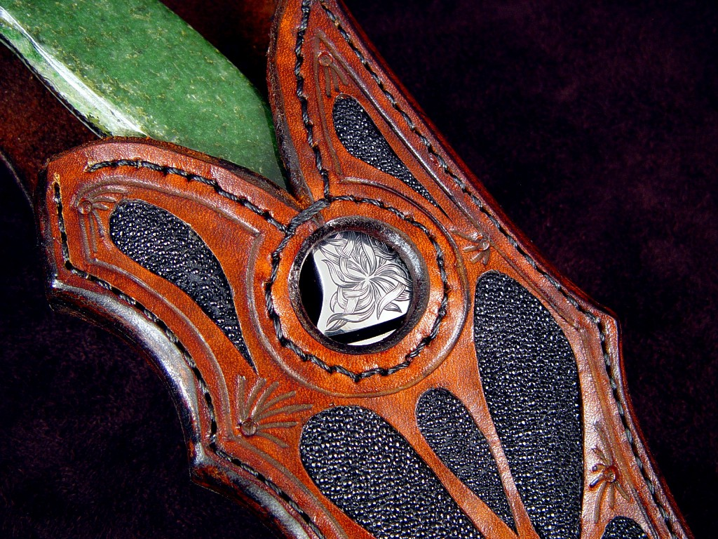 """Mercator"" in 440C high chromium stainless steel blade, hand-engraved 304 stainless steel bolsters, Nephrite Jade gemstone handle, black stingray skin inlaid in leather sheath"