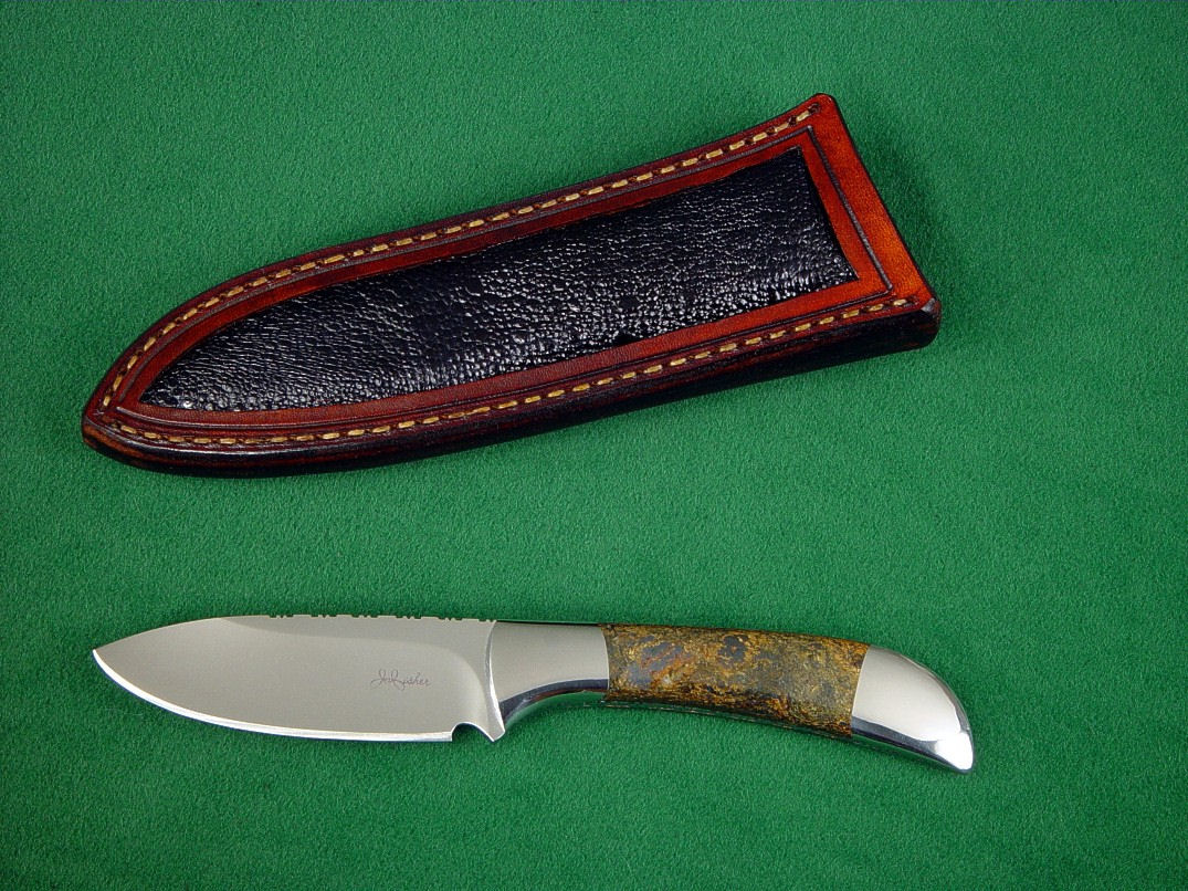 """Mule,"" Obverse side view in 440C high chromium stainless steel blade, 304 stainless steel bolsters, Bronzite Hypersthene gemstone handle, Frog skin inlaid in hand-carved leather sheath"