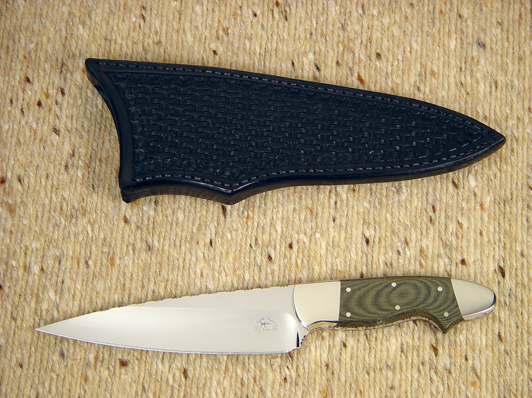 """Nihal Magnum,"" obverse side view in ATS-34 high molybdenum stainless steel blade, nickel silver bolsters, green canvas Micarta phenolic handle, black basketweaved leather sheath"