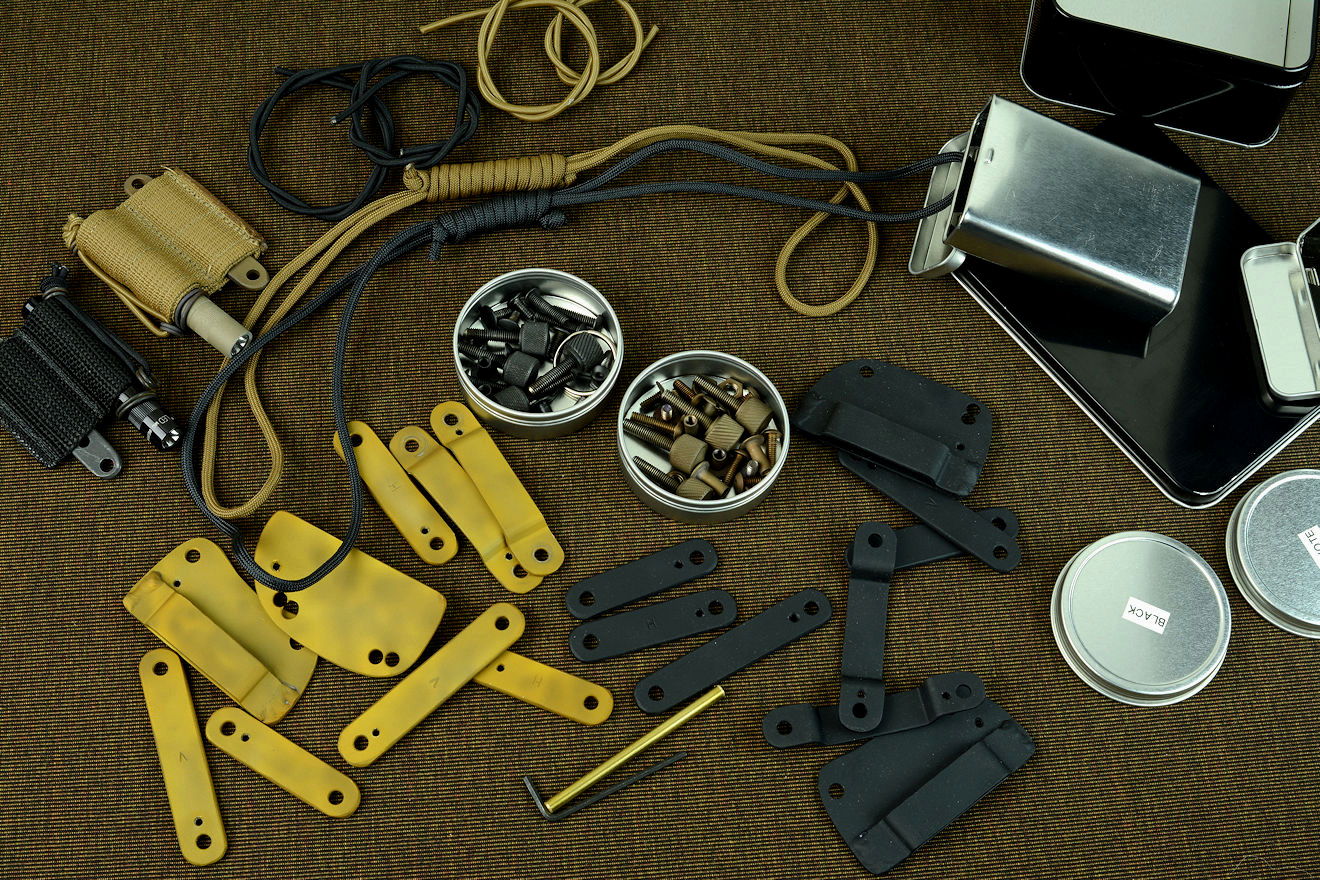 """PJ-CT"" accessories, hardware, fasteners, and fittings, showing a huge array of options in both black and coyote tan"