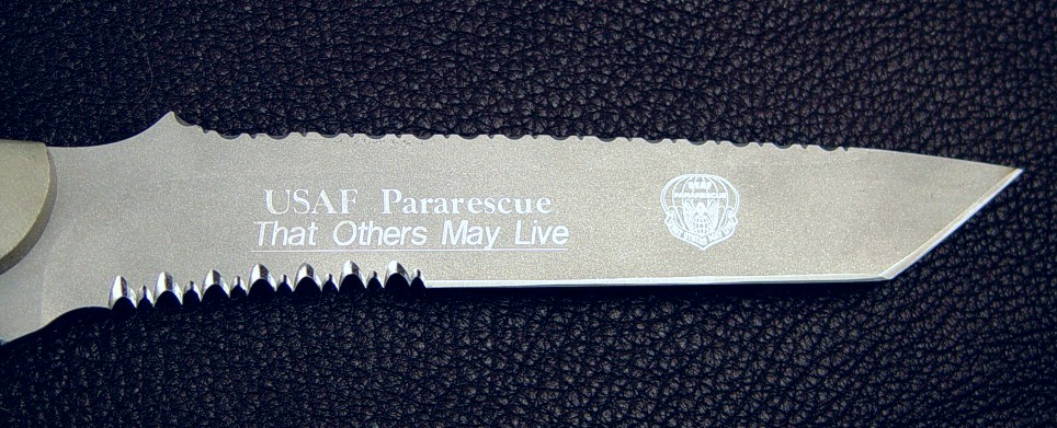 "United States Air Force Pararescue ""PJLighT"" in engraved 440C high chromium stainless steel blade"