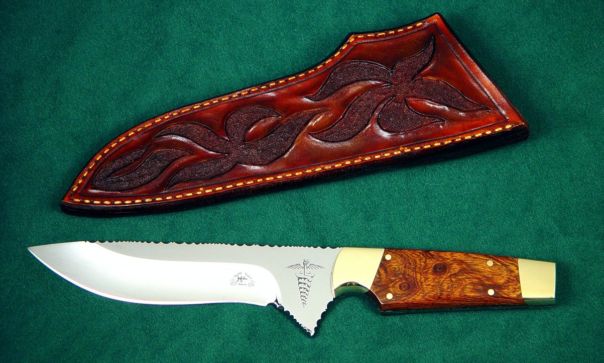 """Paraeagle"" obverse side view in etched 440C high chromium stainless steel blade, brass bolsters, Desert Ironwood hardwood handle, hand-carved leather sheath"