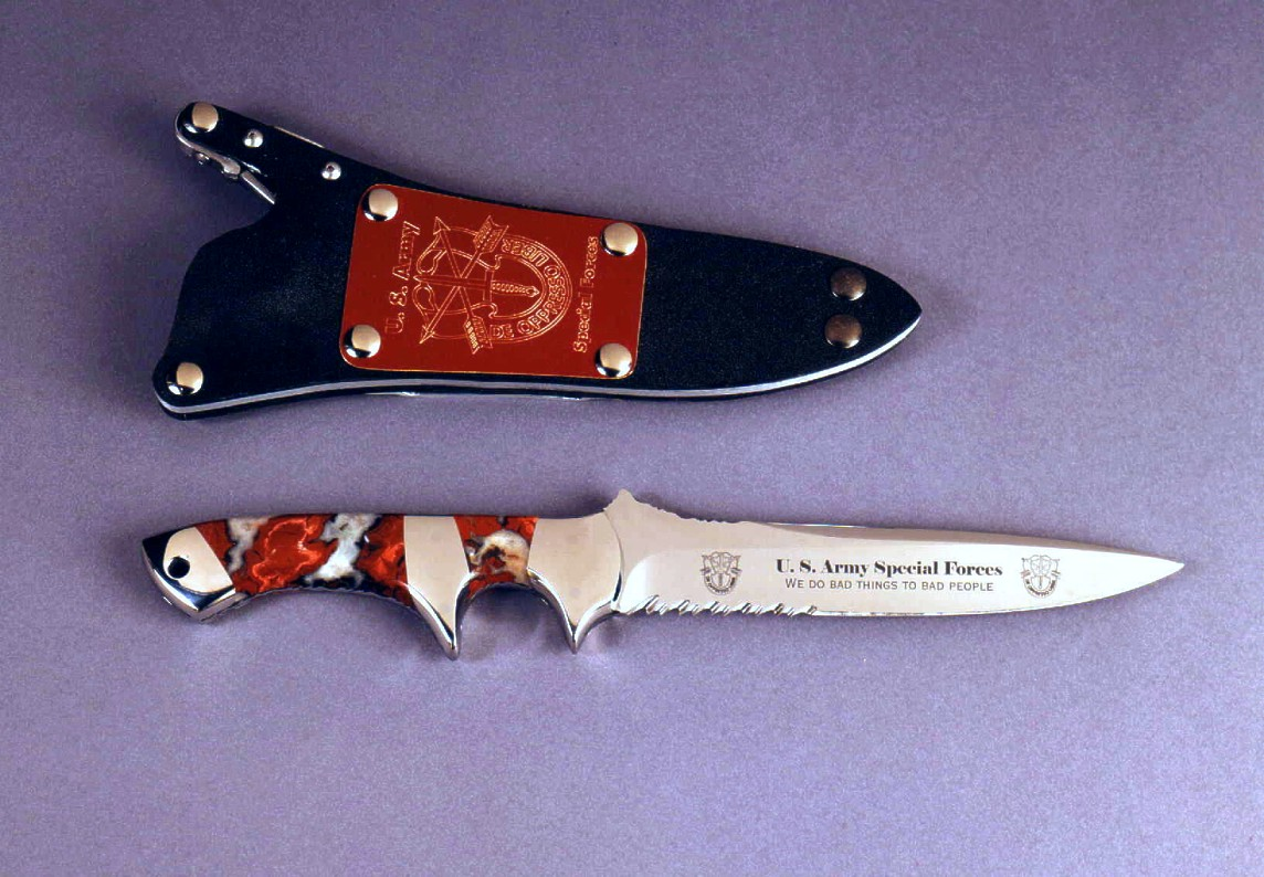"""Patriot"" in etched 440C high chromium stainless steel blade, 304 stainless steel bolsters, Cherry Blossom Jasper gemstone handle, locking kydex, aluminum, stainless steel sheath with engraved red lacquered brass flashplate"