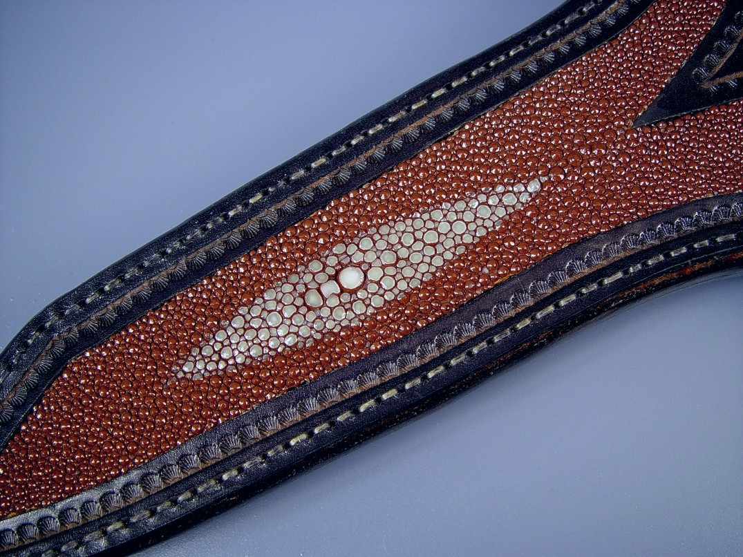 Brown Stingray skin inlaid in hand-carved, hand-stamped 9 - 10 oz. leather shoulder, hand-stitched