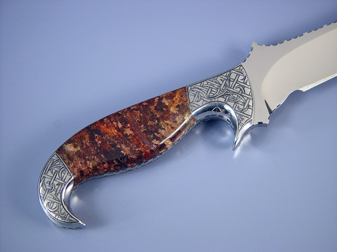 Hand-engraved 304 stainless steel bolsters with brown Micaceous Hematite gemstone knife handle