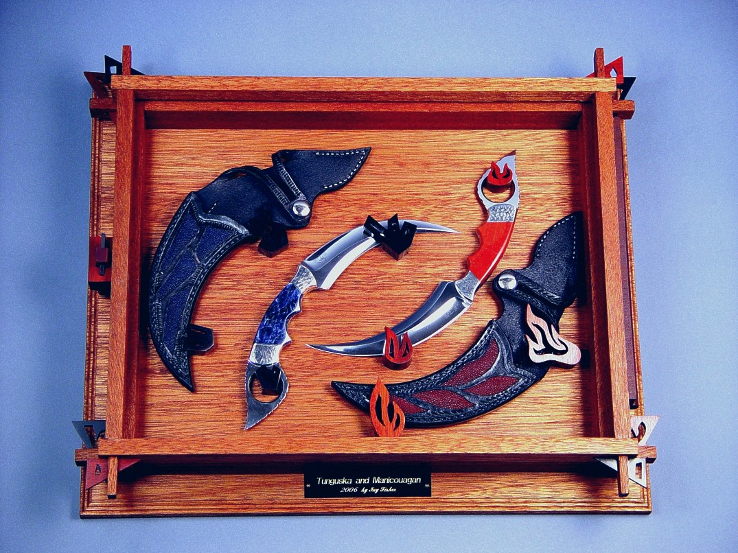 """Raptor"" kerambits art pair in 440C stainless steel blades, hand-engraved 304 stainless steel bolsters, Sodalite, Jasper gemstone handles, blue, red stingray skin inlaid in leather sheaths, case of mahogany, bloodwood, ebony"