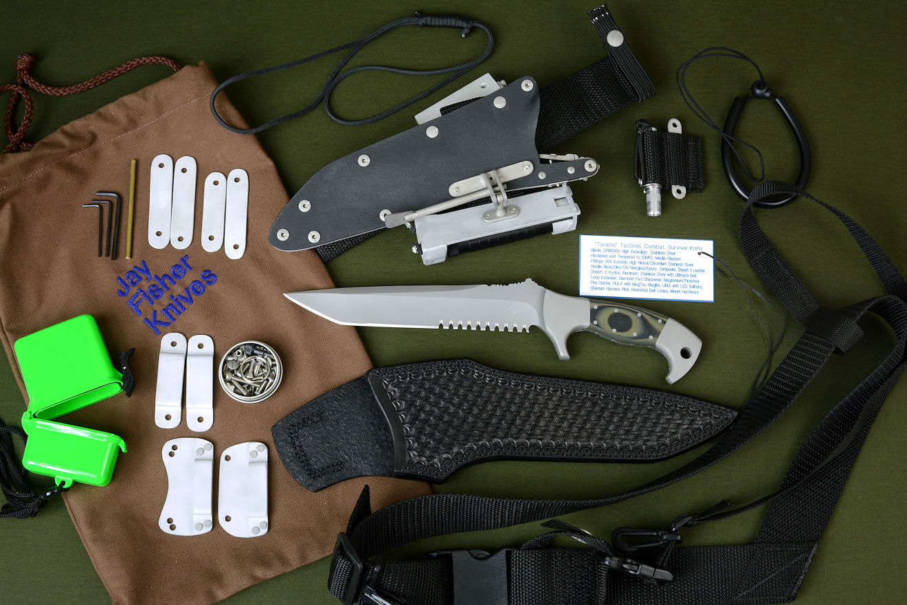 """Taranis"" counterterrorism tactical, combat, rescue, survival knife with all accessories: leather sheath, locking kydex sheath, Ultimate Belt Loop Extender, Magnesium/Firesteel Firestarter, HULA with MagTac Flashlight LIMA with LED Maglite Solitaire, sternum harness plus, belt loops, clips, stainless steel hardware, SCUBA and Paracord lanyards, archival nameplate, heavy canvas embroidered bag"