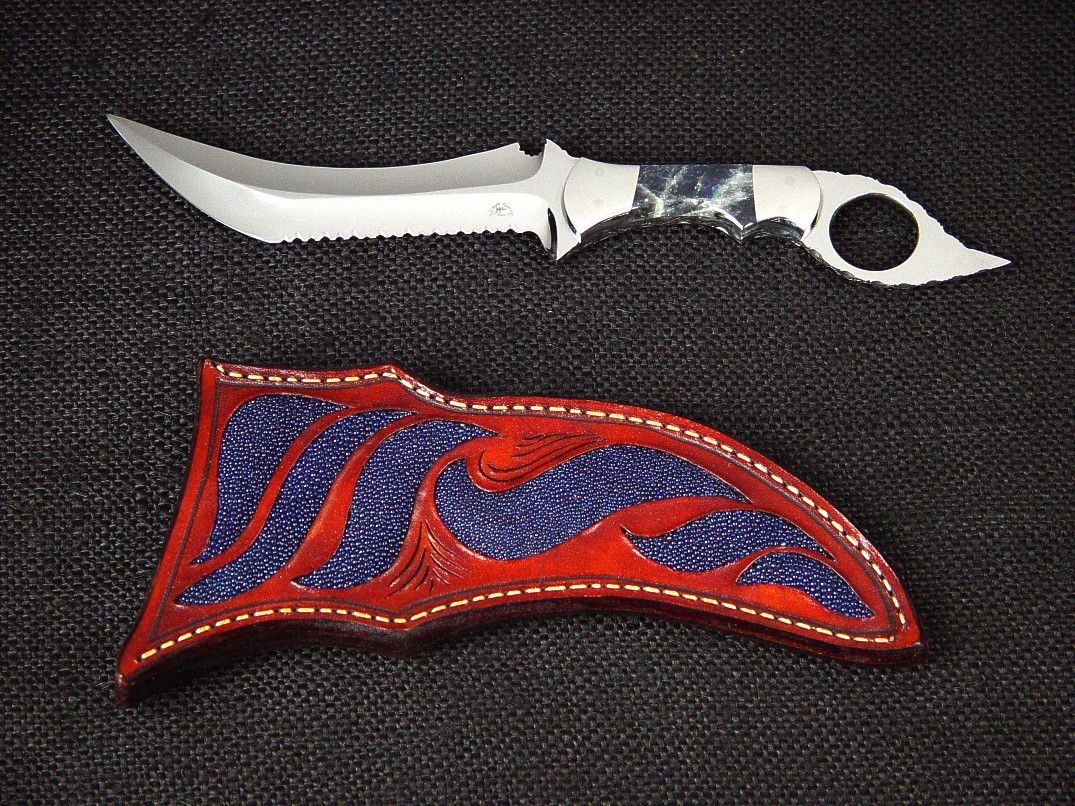 """Tethys"" tactical knife, obverse side view in 440C high chromium stainless steel blade, 304 stainless steel bolsters, Labradorite gemstone handle, blue stingray skin inlaid in hand-carved leather sheath"
