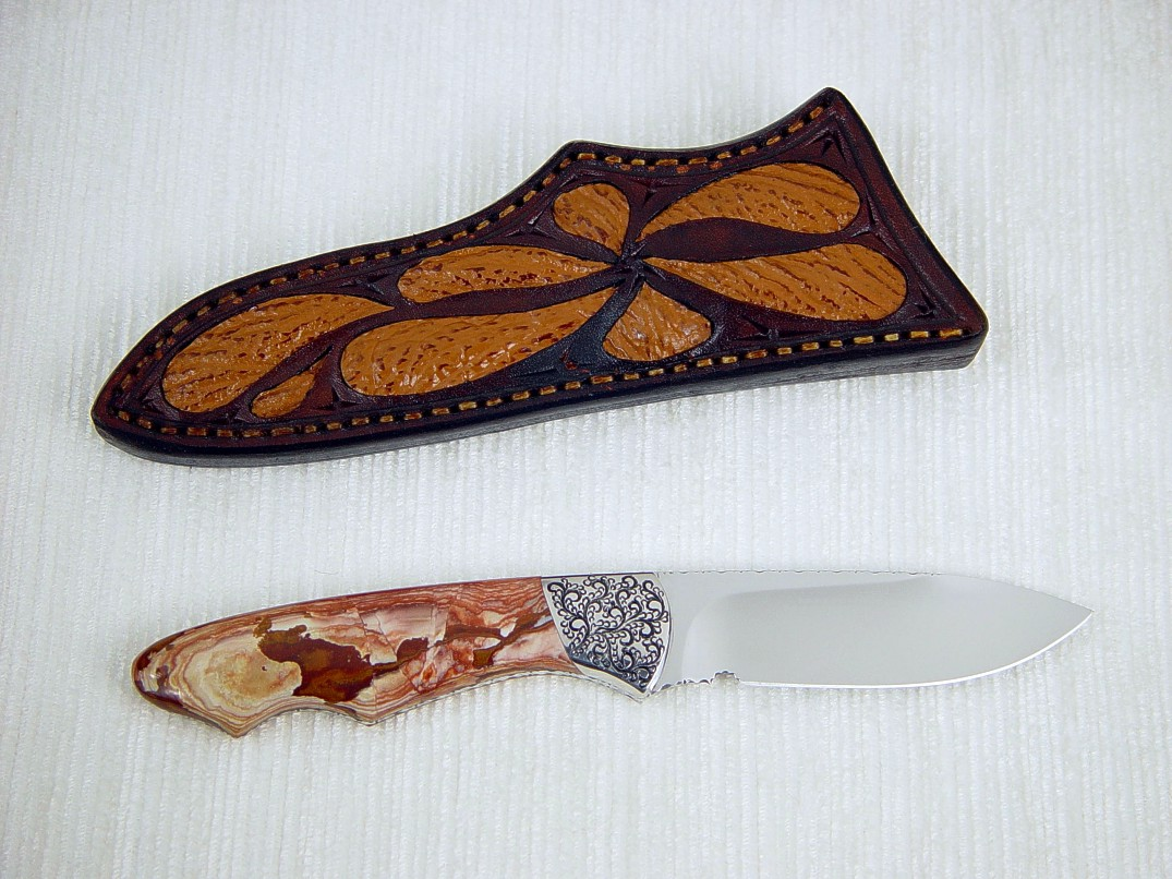 """Thuban"" reverse side view in 440C high chromium stainless steel blade, hand-engraved 304 stainless steel bolsters, Antelope Jasper gemstone handle, shark skin inlaid in hand-carved leather sheath"