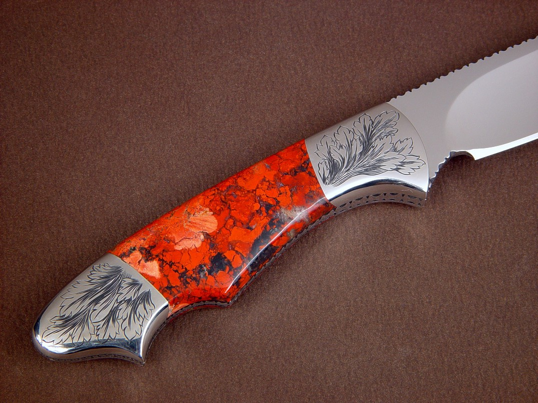 """Thuban"" obverse side view in ATS-34 high molybdenum stainless steel blade, hand-engraved 304 stainless steel bolsters, brecciated jasper gemstone handle, lizard skin inlaid in hand-carved leather sheath"