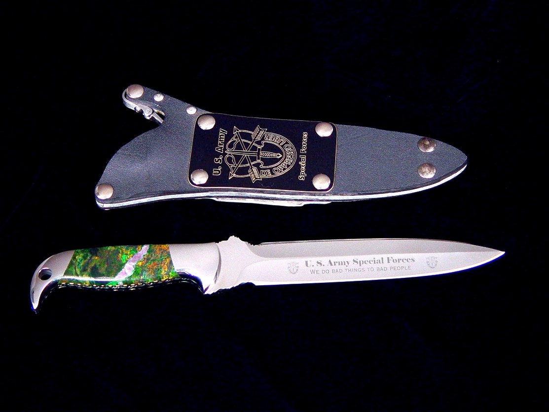"""Treatymaker LT"" in mirror polished and etched ATS-34 high molybdenum stainless steel blade, 304 stainless steel bolsters, Budstone (verdite) gemstone handle, locking kydex, aluminum, stainless steel sheath"