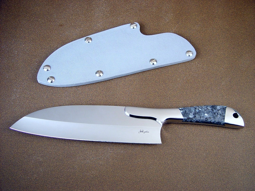 """Vega"" Master Chef's Knife obverse side view: 440c high chromium stainless steel blade, 304 stainless steel bolsters, Larvikite (Blue Pearl) granite gemstone handle, kydex, nickel plated steel slip sheath"