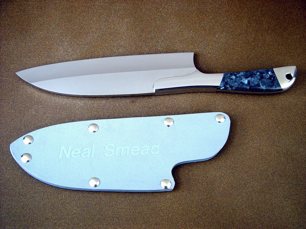 """Vega"" chef's knife, blue pearl granite gemstone handle with engraved kydex, nickel plated steel slip sheath"