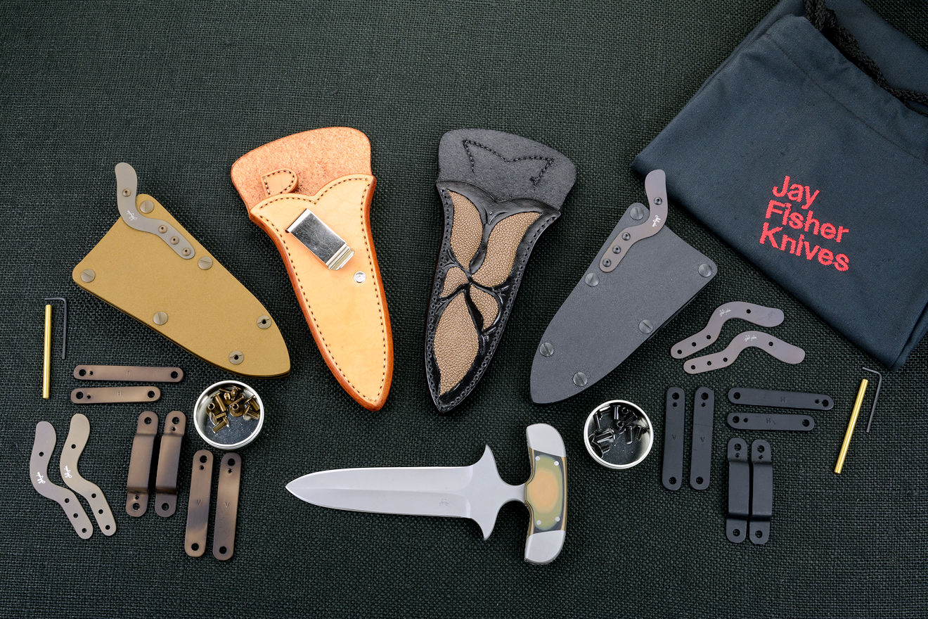 """Vindicator"" Tactical Combat Counterterrorism Push/punch dagger with complete accessory package including multiple sheaths in coyote brown, black, inside waistband natural leather and exotic inlay leather dress, all mounting accessories, hardware, and tools"