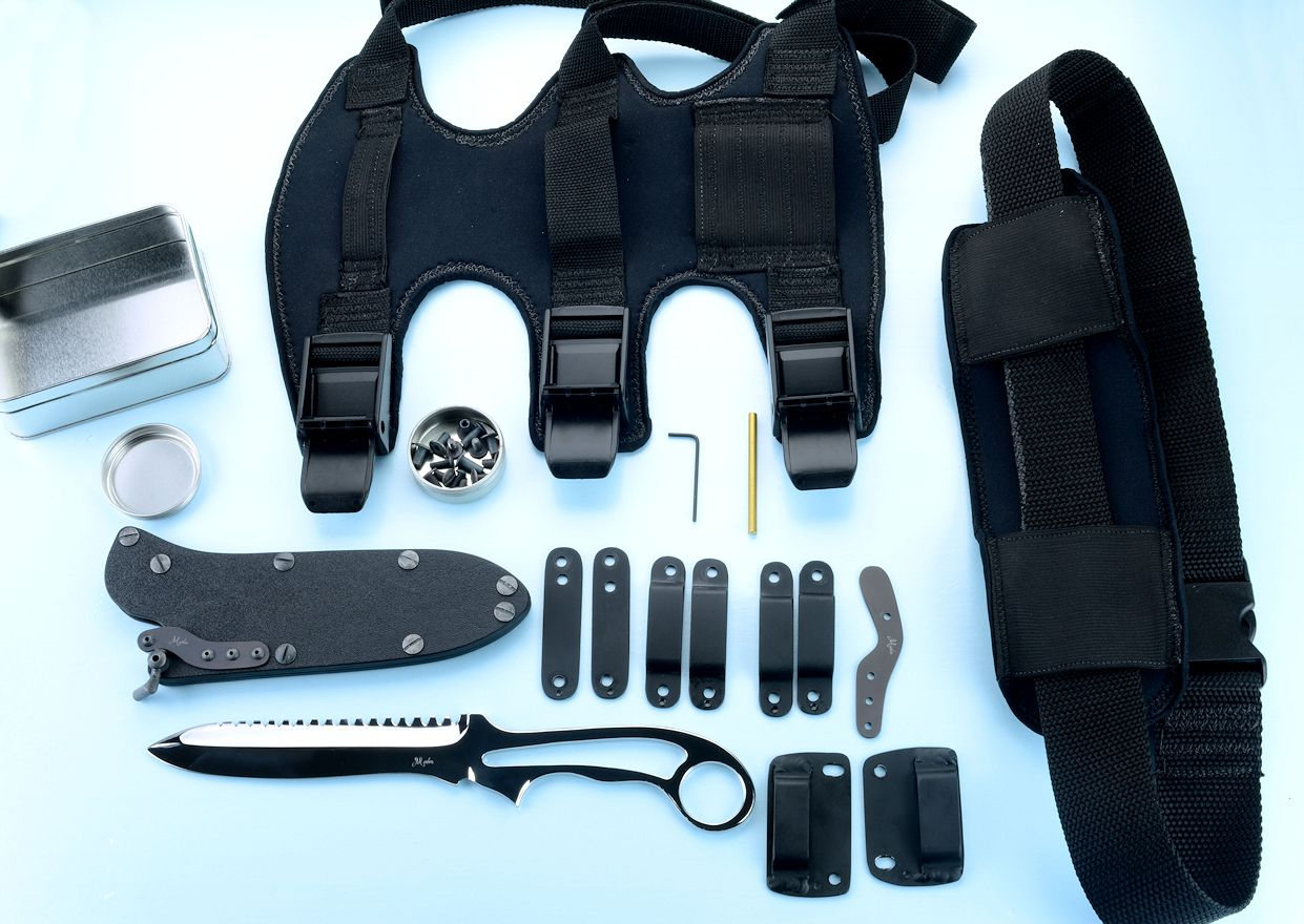 """Xanthid"" counterterrorism dive knife with accessories: hybrid tension lock sheath with cam lock, horizontal belt loop plates, .190"" belt loops, .250 belt loops, horizontal/vertical belt strap clamps, thumb relase spring, assembly tools, stainless steel hardware, Dive Calf Accessory Mount, Dive Belt Accessory Mount, storage containers"