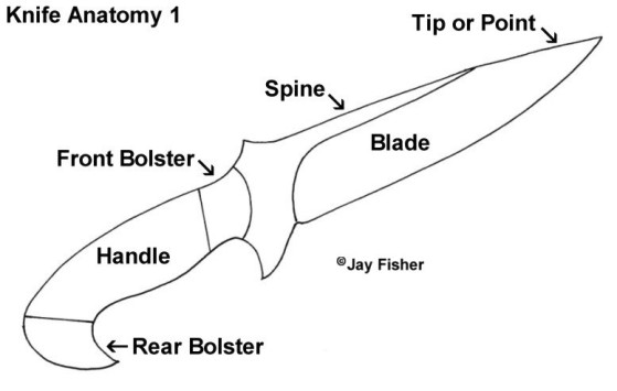 Knife Anatomy, Parts, Components: Bolsters, Point Shapes, Handles, Blade, Spine
