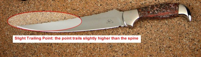 Knife Anatomy, parts, names: slight trailing point, point trails higher than the generalized axis of the blade spine.