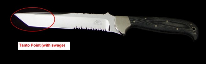 Knife anatomy, parts, descriptions: tanto blade shape, hollow ground, secondary edges, straight profile, swage
