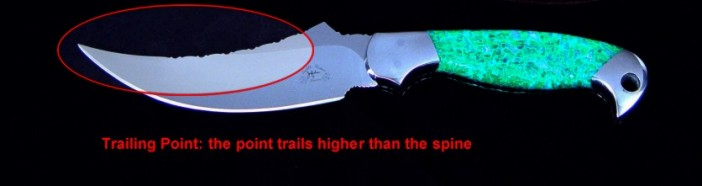 "Knife Anatomy: the trailing point ""trails"" higher than the generalized axis of the spine of the knife."